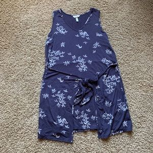 Tie front long tank with flower detail